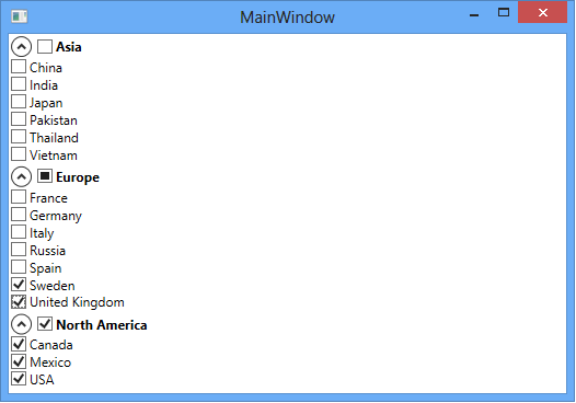 How to bind a three-state CheckBox to some other CheckBoxes in a