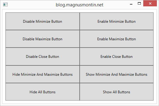 Disabling or hiding the minimize, maximize or close button